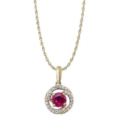14K Yellow Gold Ruby/Diamond Pendant
