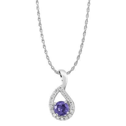 14K White Gold Tanzanite/Diamond Pendant | PCC083J23WI