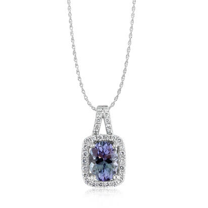 14K White Gold Peacock Tanzanite/Diamond Pendant | PCC084FT1WI