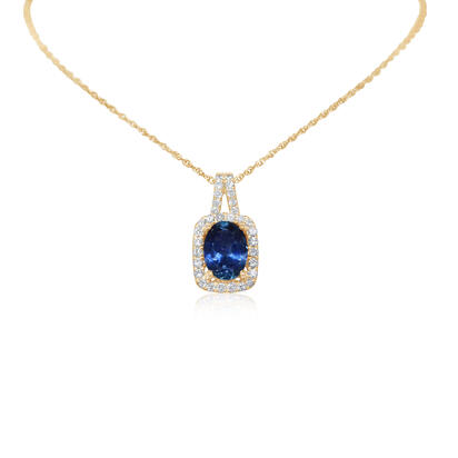 14K Yellow Gold Montana Sapphire/Diamond Pendant | PCC084MS1CI