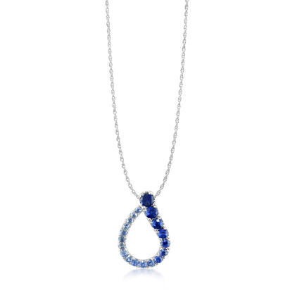 14K White Gold Graduated Blue Sapphire Pendant with Chain | PCC088GSXWI-CH
