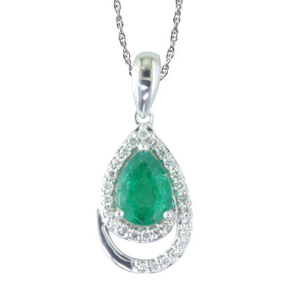 14K White Gold Emerald/Diamond Pendant | PCC099E22WI