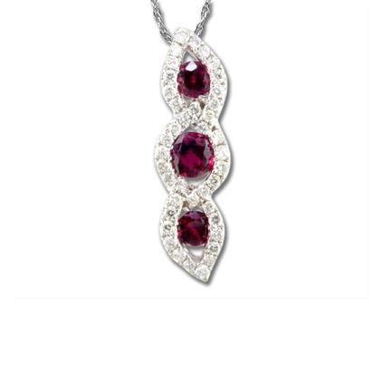 14K White Gold Madagascar Ruby/Diamond Pendant | PCC108RM1WI