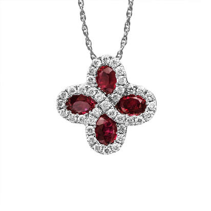 14K White Gold Madagascar Ruby/Diamond Pendant