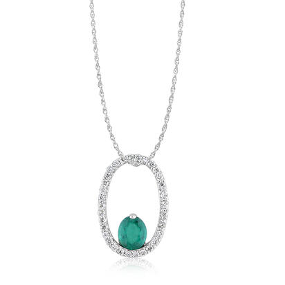 14K White Gold Emerald/Diamond Pendant -D' | PCC113E12WI