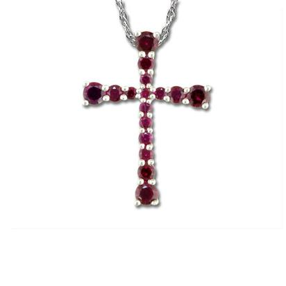 14K White Gold Mozambique Ruby Cross Pendant | PCC120RZXWI