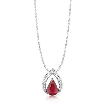 14K White Gold Mozambique Ruby/Diamond Pendant | PCC127RZ2WI