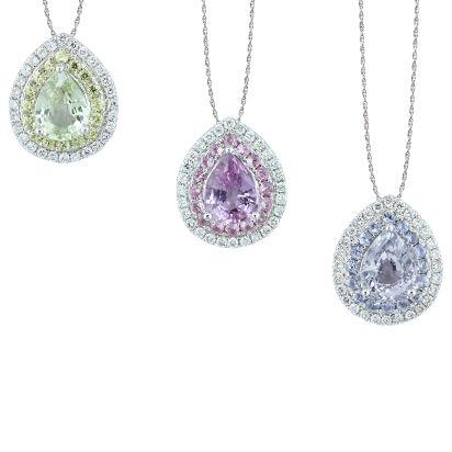 14K White Gold Various Color Fancy Sapphire/Diamond Pendant(Call For Available C | PCC140FS1WI
