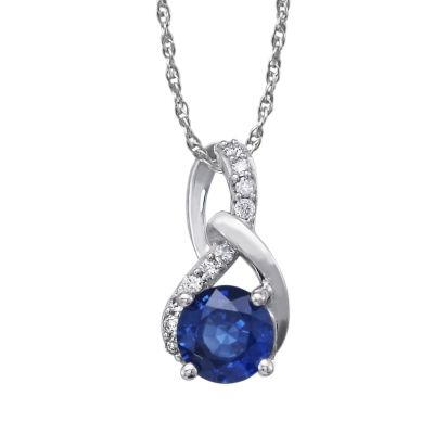 14K White Gold Blue Sapphire/Diamond Pendant with Chain | PCC142S12W-CH