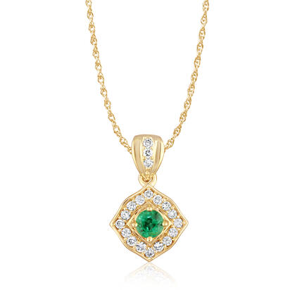 14K Yellow Gold Emerald/Diamond Pendant | PCC150E12C