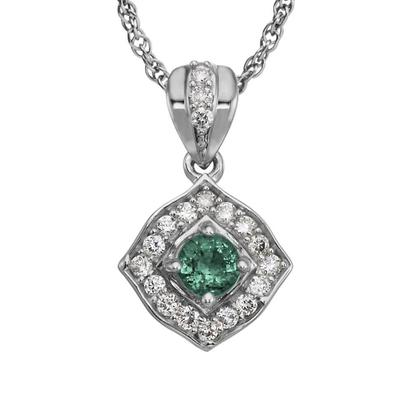 14K White Gold Emerald/Diamond Pendant | PCC150E12W