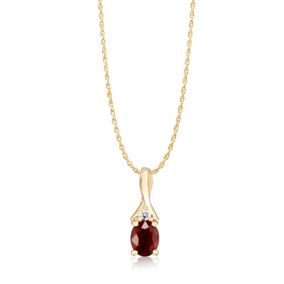 14K Yellow Gold Ruby/Diamond Pendant | PCC151R12C