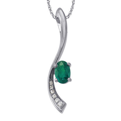 14K White Gold Emerald/Diamond Pendant  with Chain | PCC166E22WI-CH