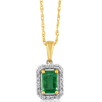 14K White Gold/14K Yellow Gold Emerald/Diamond Pendant | PCC194E12AI