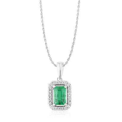 14K White Gold Emerald/Diamond Pendant with Chain | PCC194E12WI-CH