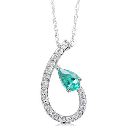 14K White Gold Emerald/Diamond Pendant | PCC197E12WI
