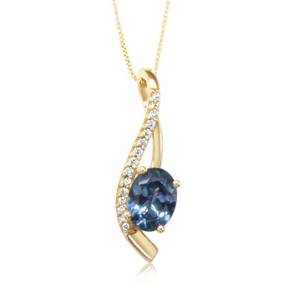 14K Yellow Gold Montana Blue Sapphire/Diamond Pendant | PCC214MS2C