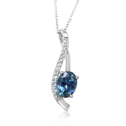 14K White Gold Montana Blue Sapphire/Diamond Pendant | PCC214MS2W