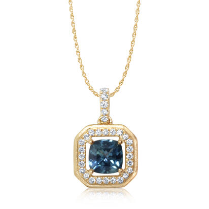 14K Yellow Gold Montana Sapphire/Diamond Pendant | PCC215MS2CI