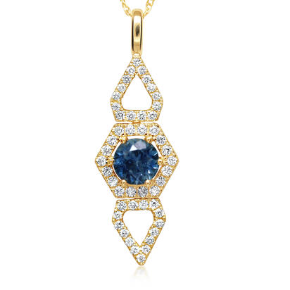 14K Yellow Gold Montana Sapphire/Diamond Pendant | PCC218MS2CI