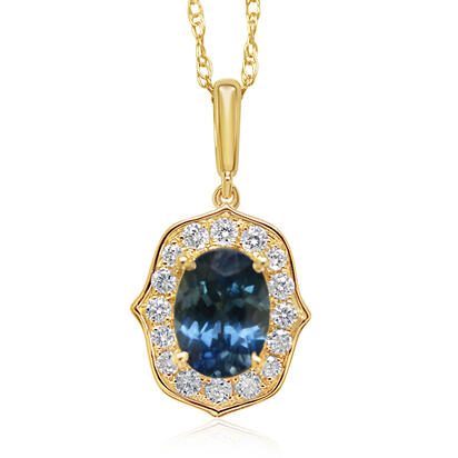 14K Yellow Gold Montana Sapphire/Diamond Pendant | PCC219MS2CI