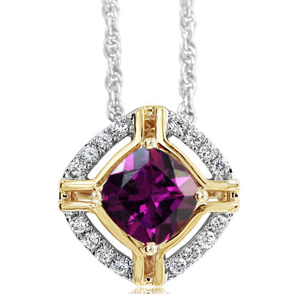 14K White and Yellow Gold Purple /Diamond Pendant | PCC220GP2AI