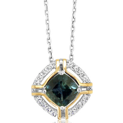 14K White and Yellow Gold Montana Sapphire/Diamond Pendant | PCC220MS2AI