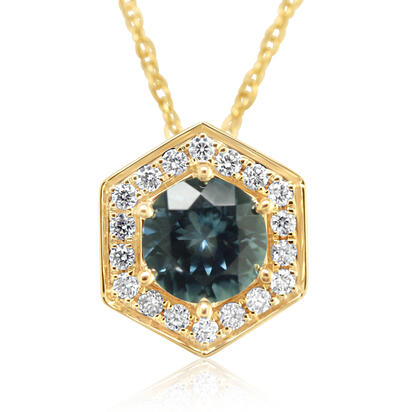 14K Yellow Gold Montana Sapphire/Diamond Pendant | PCC224MS2CI