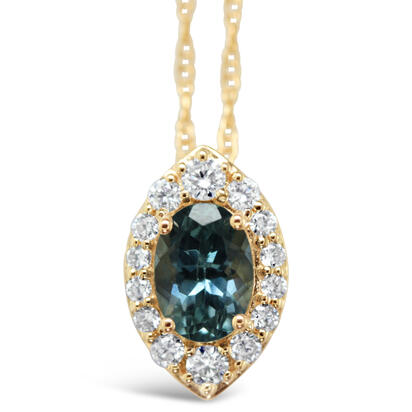 14K Yellow Gold Montana Sapphire/Diamond Pendant | PCC225MS2CI