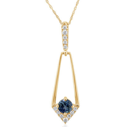 14K Yellow Gold Montana Sapphire/Diamond Pendant | PCC228MS2CI