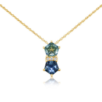 14K Yellow Gold 5 mm Pentagon Montana Sapphire/Diamond Pendant | PCC252MS2C