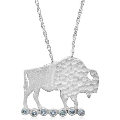 Sterling Silver Buffalo Montana Sapphire Pendant(7-Stones) with Chain | PCC700MSXS-CH