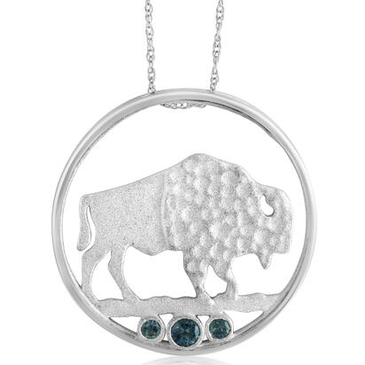 Sterling Silver Buffalo Montana Sapphire Pendant (3-Stones) with Chain | PCC703MSXS-CH