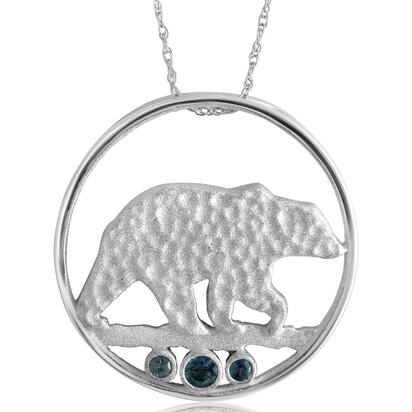 Sterling Silver Bear Montana Sapphire Pendant(3-Stones) with Chain | PCC704MSXS-CH