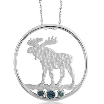 Sterling Silver Moose Montana Sapphire Pendant(3-Stones) with Chain | PCC705MSXS-CH