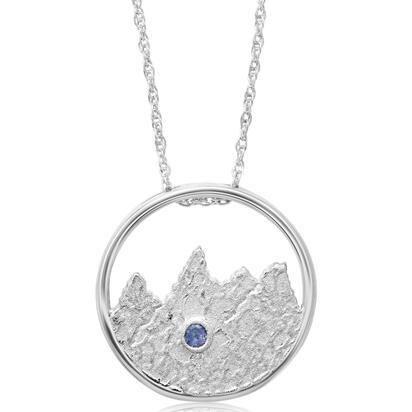 Sterling Silver Tetons Montana Sapphire Pendant(1-Stone) with Chain | PCC707MSXS-CH