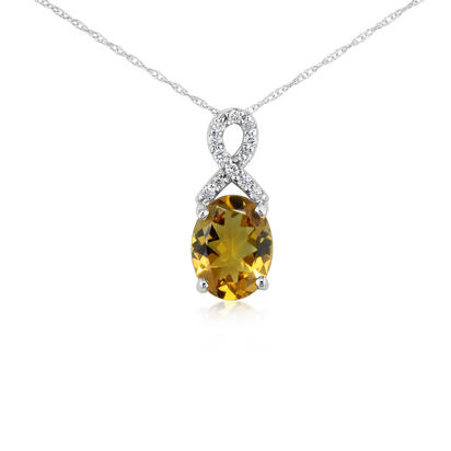 14K White Gold Citrine/Diamond Pendant with Chain | PCO006C23W-CH