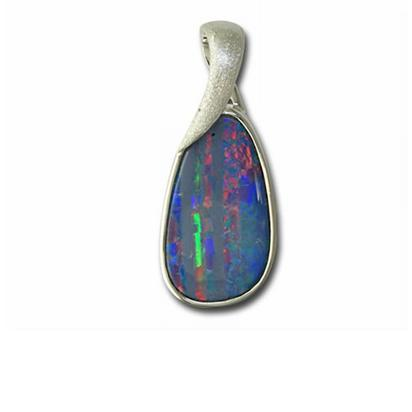 Sterling Silver Australian Opal Doublet Satin Finish Pendant | PD215S-2I