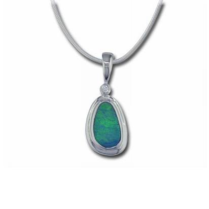 14K White Gold Australian Opal Doublet with Bezel Pendant with Diamond | PDBTW106W-8I