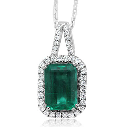 18K White Gold Emerald/Diamond Pendant | PE0OC220273QI