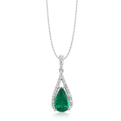 18K White Gold Emerald/Diamond Pendant