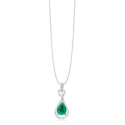 18K White Gold Emerald/Diamond Pendant | PE0PR0875260QI