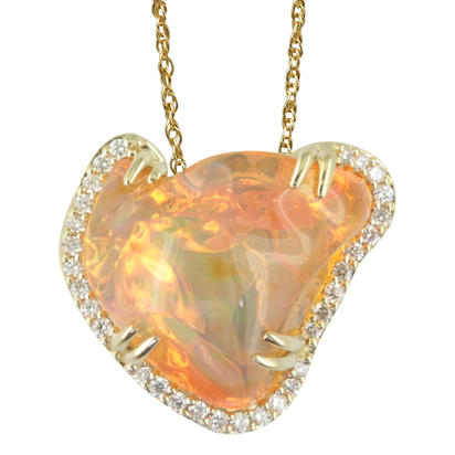 14K Yellow Gold Mexican Fire Opal/Diamond Pendant | PFOFF1001016CI