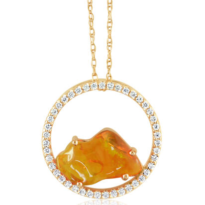 14K Yellow Gold Mexican Fire Opal/Diamond Pendant | PFOFF150211C