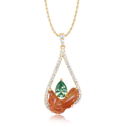 14K Yellow Gold Mexican Fire Opal/Mint Garnet/Diamond Pendant | PFOFF150288C