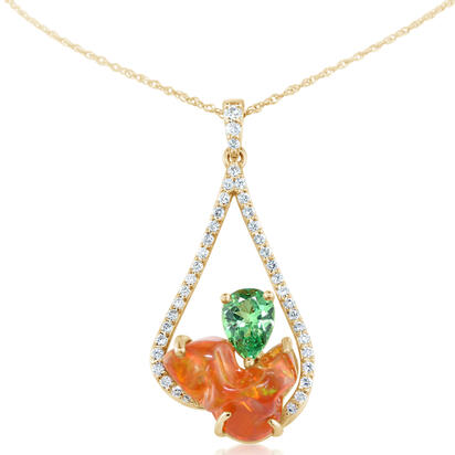 14K Yellow Gold Mexican Fire Opal/Mint Garnet/Diamond Pendant | PFOFF150393C