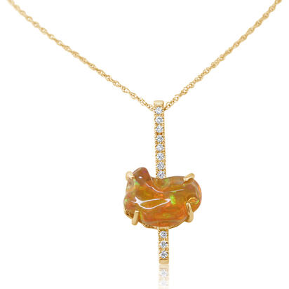 14K Yellow Gold Fire Opal/Diamond Pendant | PFOFF200286C