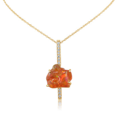 14K Yellow Gold Fire Opal/Diamond Pendant