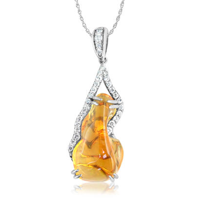 14K White Gold Mexican Fire Opal/Diamond Pendant | PFOFF250355WI