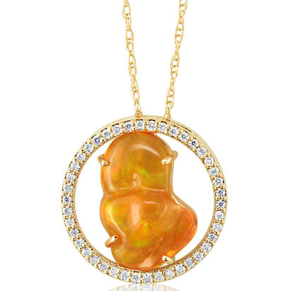14K Yellow Gold Mexican Fire Opal/Diamond Pendant with Chain